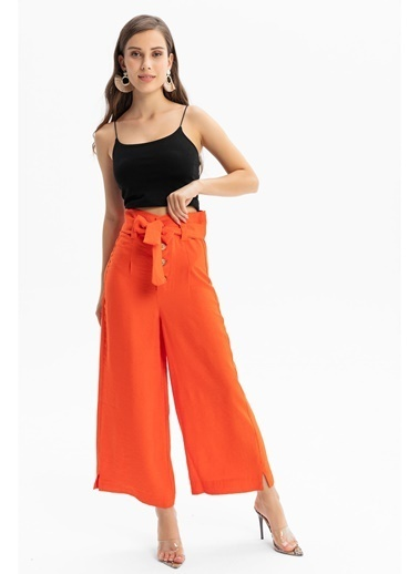 Tiffany&Tomato Yüksek Bel Bol Paça Kalın Keten Pantolon Kırmızı